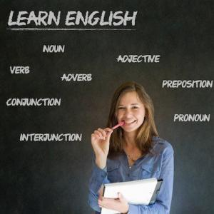 Woman - White - Blackboard - Study English